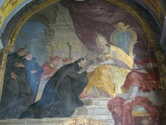 Approbation des statuts de la societe de jesus ignace de loyola recoit la bulle regimini militantis ecclesiae des mains du pape paul iii 1