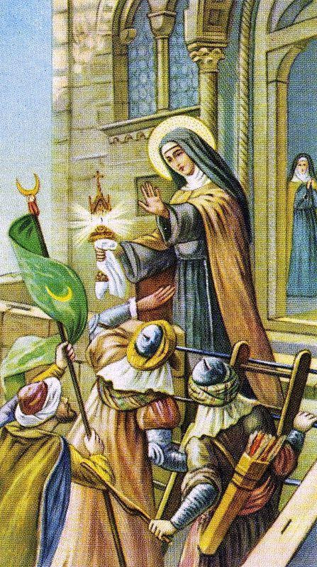 Claire malade se fit transporter a la porte du monastere et le ciboire en main mit en fuite les ennemis 2