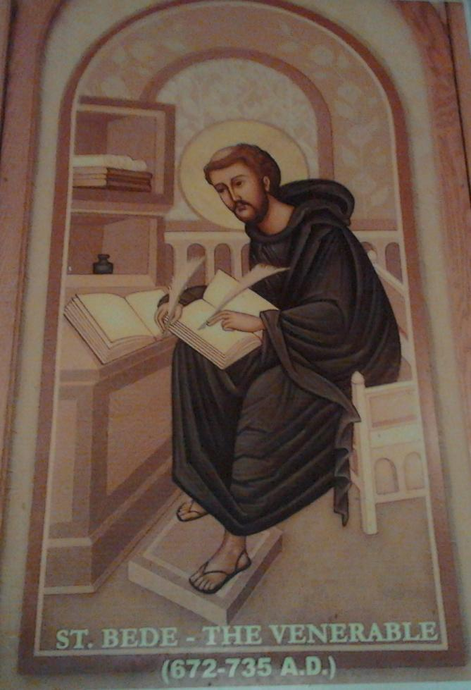 Depiction of st bede the venerable at st bede s school chennai image has been cropped for better presentation