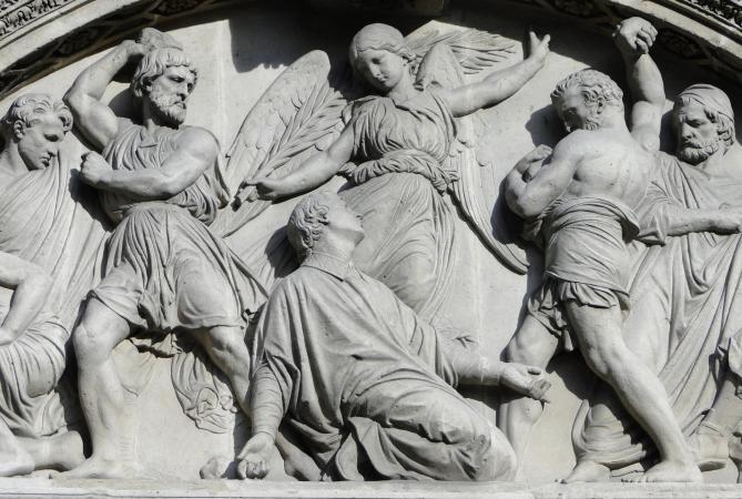 Eglise saint etienne du mont bas relief representant le martyre de saint etienne 2 11