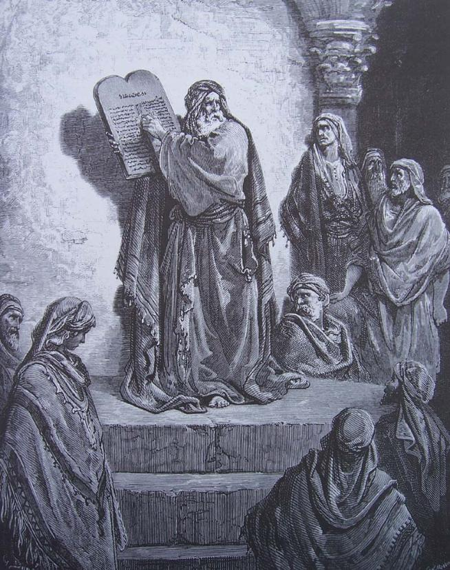 Gravure dore bible esdra montre le livre de la loi 1
