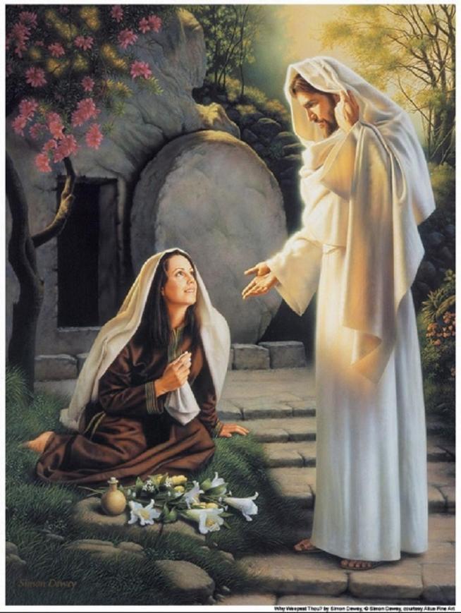 Marie madeleine se tenait pres du tombeau au dehors tout en pleurs 11