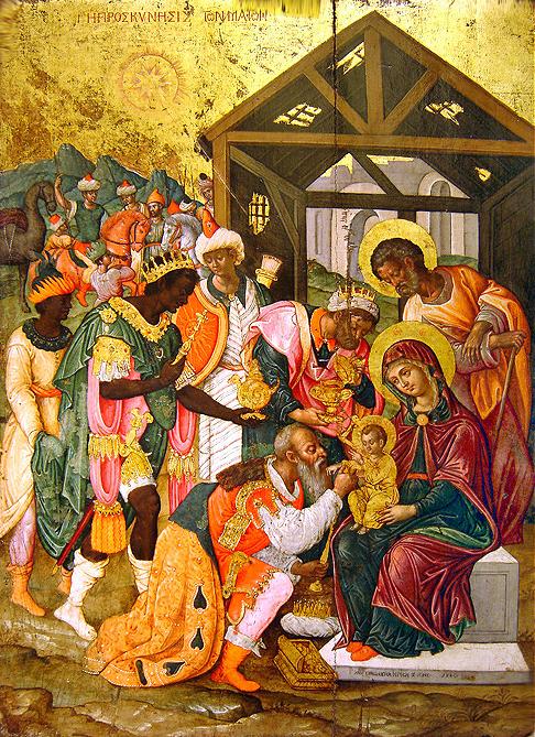 Fête de l'Epiphanie. Adoration des rois mages.