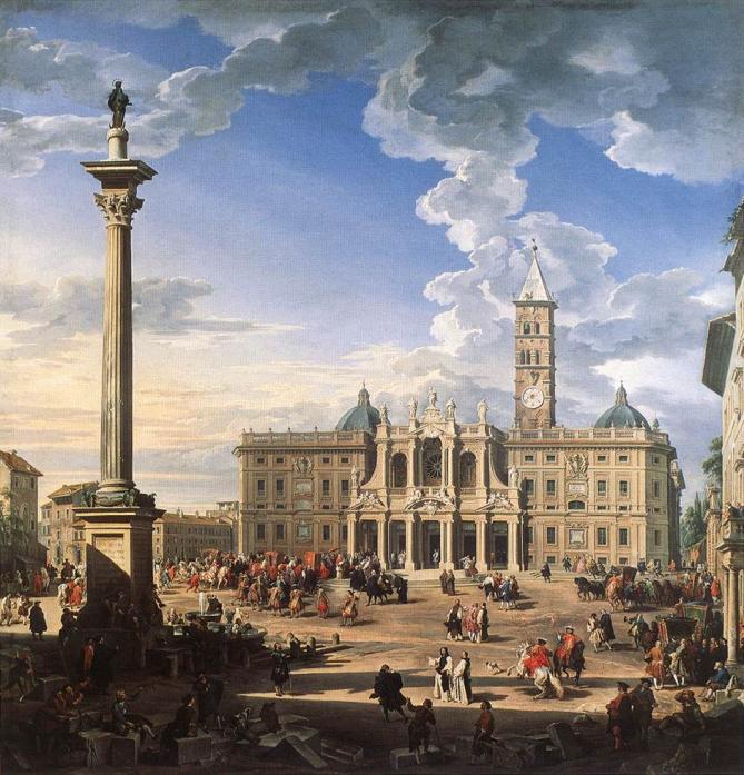 Peinture de 1744 par giovanni pannini montrant la basilique et la colonne de la paix 1
