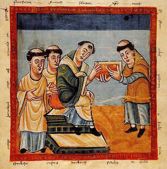 Rabanus maurus presenting his book to pope gregory iv