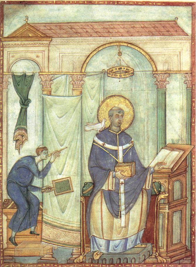 Registrum gregorii san gregorio magno ispirato dalla colomba 983 miniatura treviri stadtbiblithek 19 8x27 cm