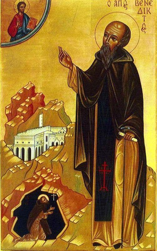 Saint benoit de nursie pere des moines d occident fondateur de l ordre de benedictins patron de l europe 480 548