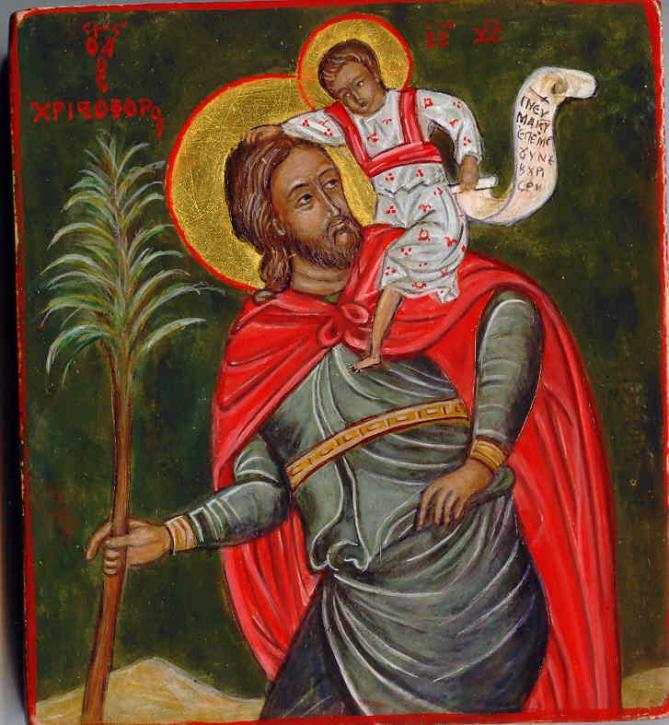 Saint christophe jesus porte de sa main gauche la parole de dieu et de sa main droite benit 1
