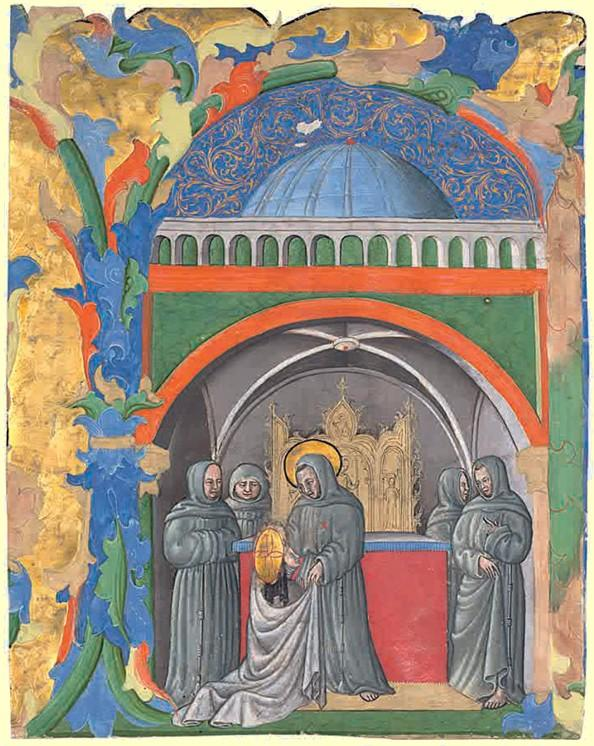 Saint francis receives clare of assisi into the order of the minorites