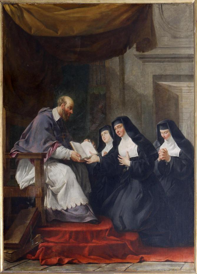 Saint francois de sales donnant a sainte jeanne de chantal la regle de l ordre de la visitation noel halle