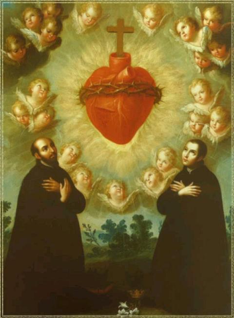Saint ignace de loyola et saint louis de gonzague adoration du sacre coeur de jesus