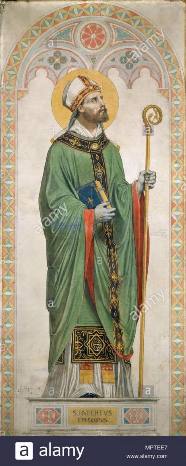 Saint rupert de salzbourg le carton pour les vitraux de la chapelle de saint ferdinand 1842 mptee7 11
