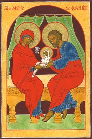 Sainte anne et saint joachim avec leur bebe la vierge marie 1