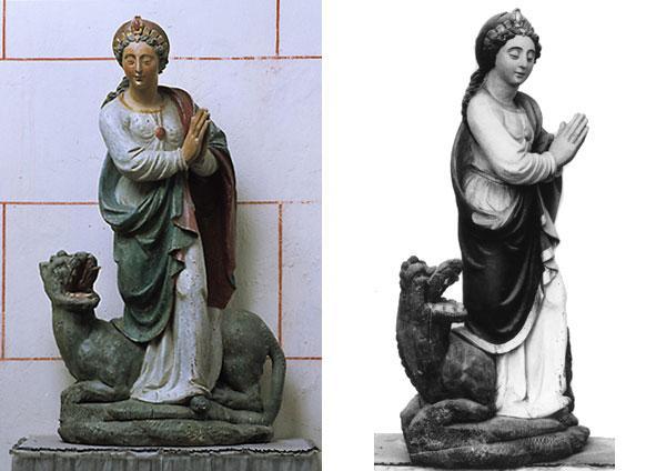 Sainte marguerite ou marine d antioche figuree avec un dragon a ses pieds 1