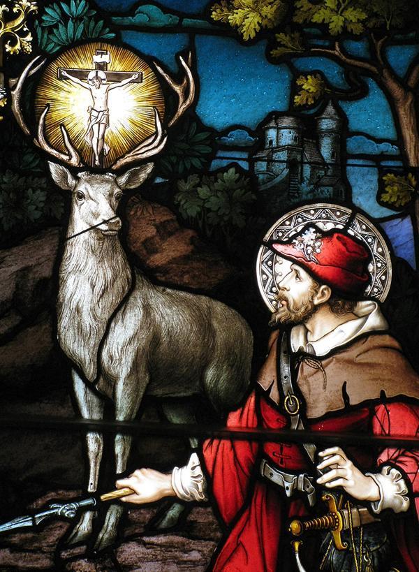 ✟Les Saints - Les Saintes du  Jour✟ - Page 18 St-hubert-stained-glass