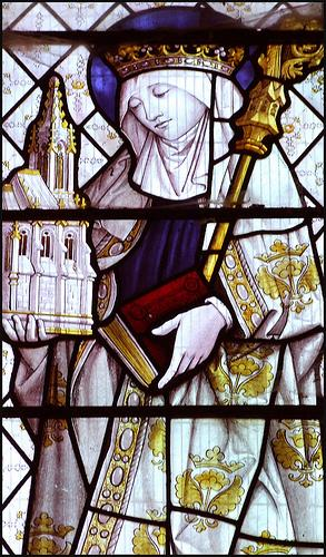 St etheldreda holding her church at ely