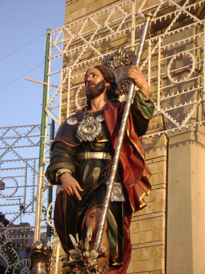 Statue of san rocco of scilla italy