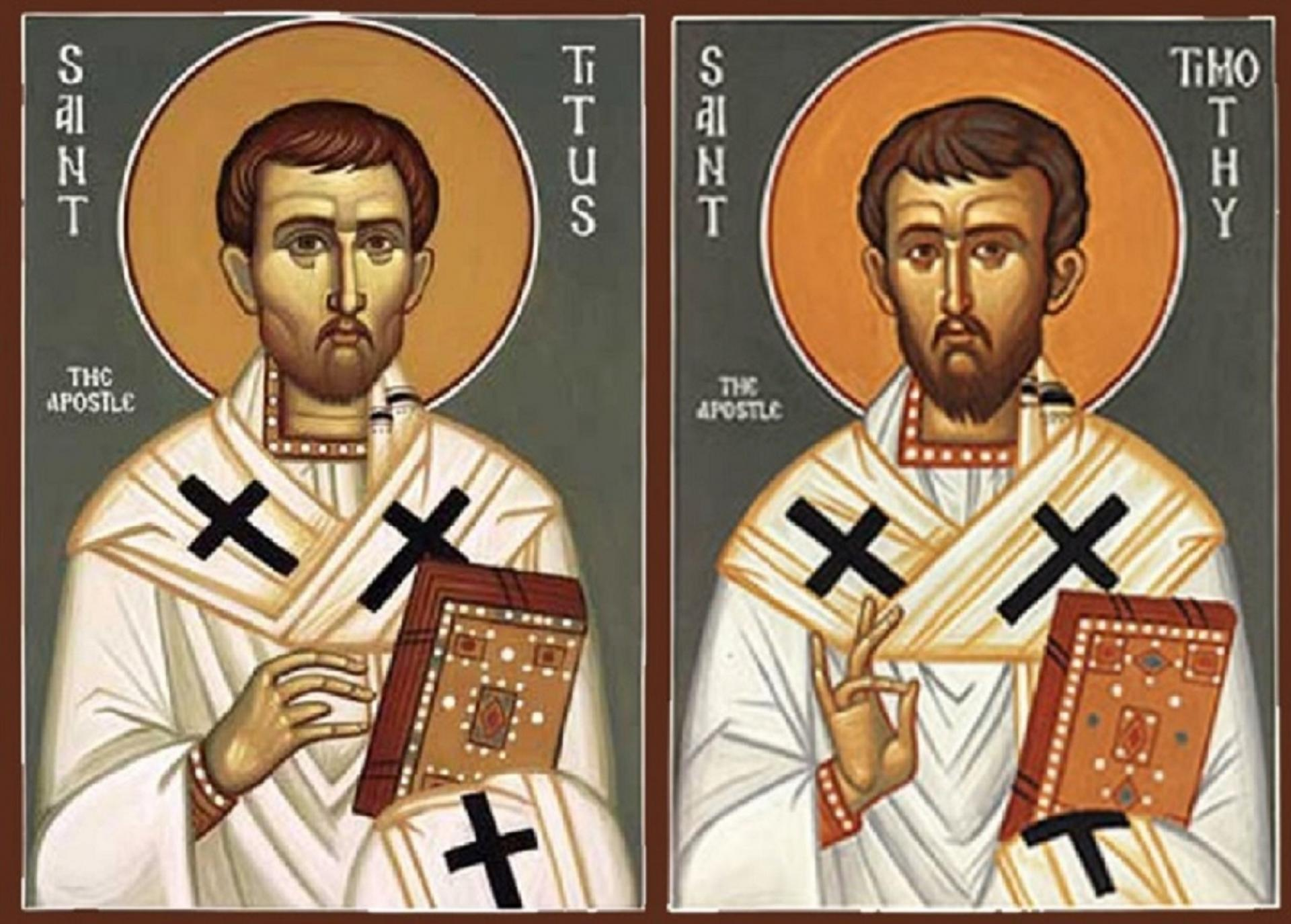 Saints Timothée et Tite, Évêques, Disciples et compagnons de Saint Paul  (1er s.). Fête le 26 Janvier.